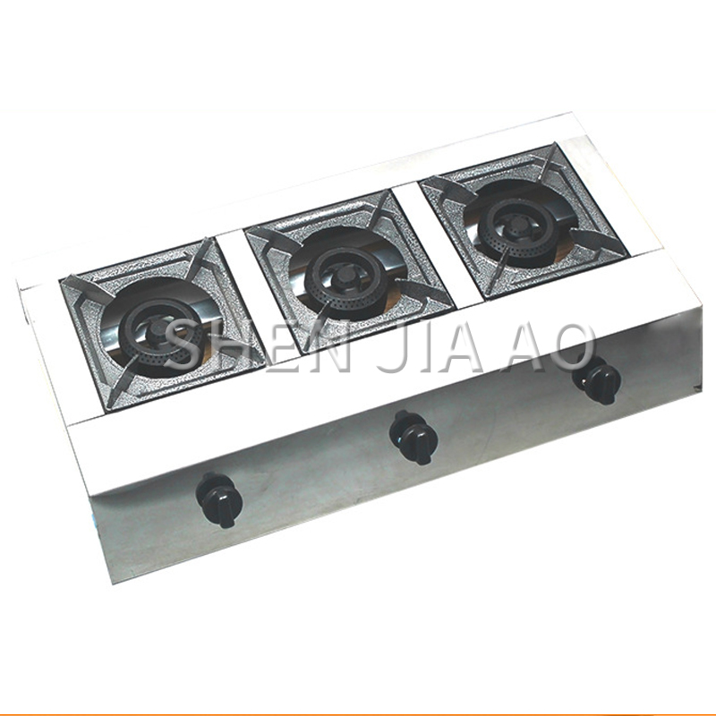 Commercial Stove Natural Gas / Liquefied Gas Stove Stainless Steel Three-hole Honeycomb Furnace Desktop Gas Stove