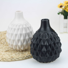 Vase Black and White Northern European Ins Style Corner Stereoscopic Flower Device Home Decoration Handicraft Ceramic