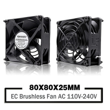 YOUNUON Dual Ball  80mm 8cm 8025 EC Brushless Fan AC 110V 115V 120V 220V 240V Axial Fan 80 x 80 x 25mm Comes with Srews/Grill