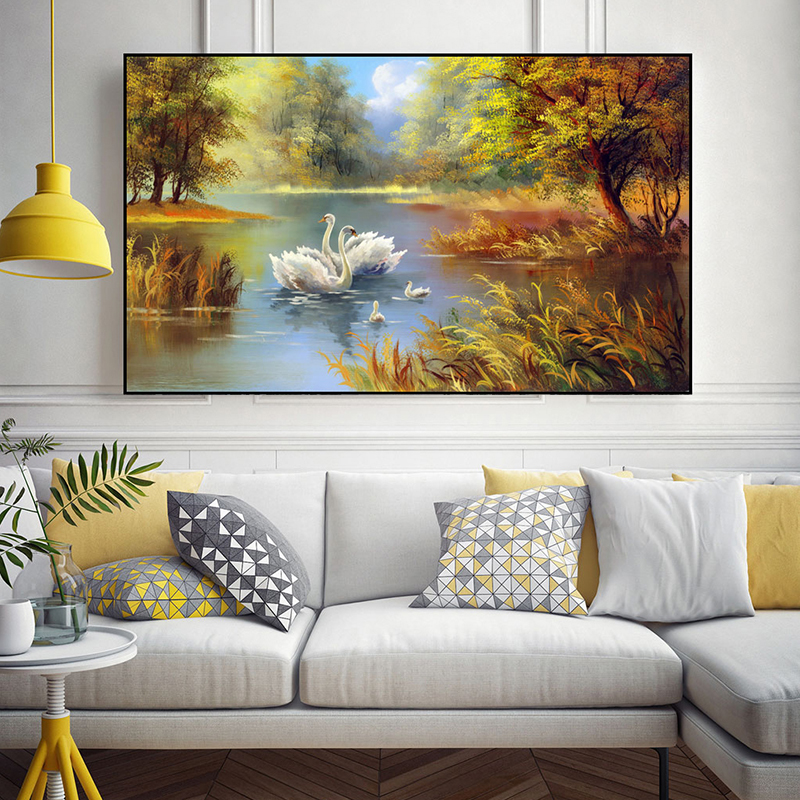 Nordic Abstract Color Swan Lake Canvas Painting Poster And Print Unique Decor Wall Art Pictures For Living Room Bedroom