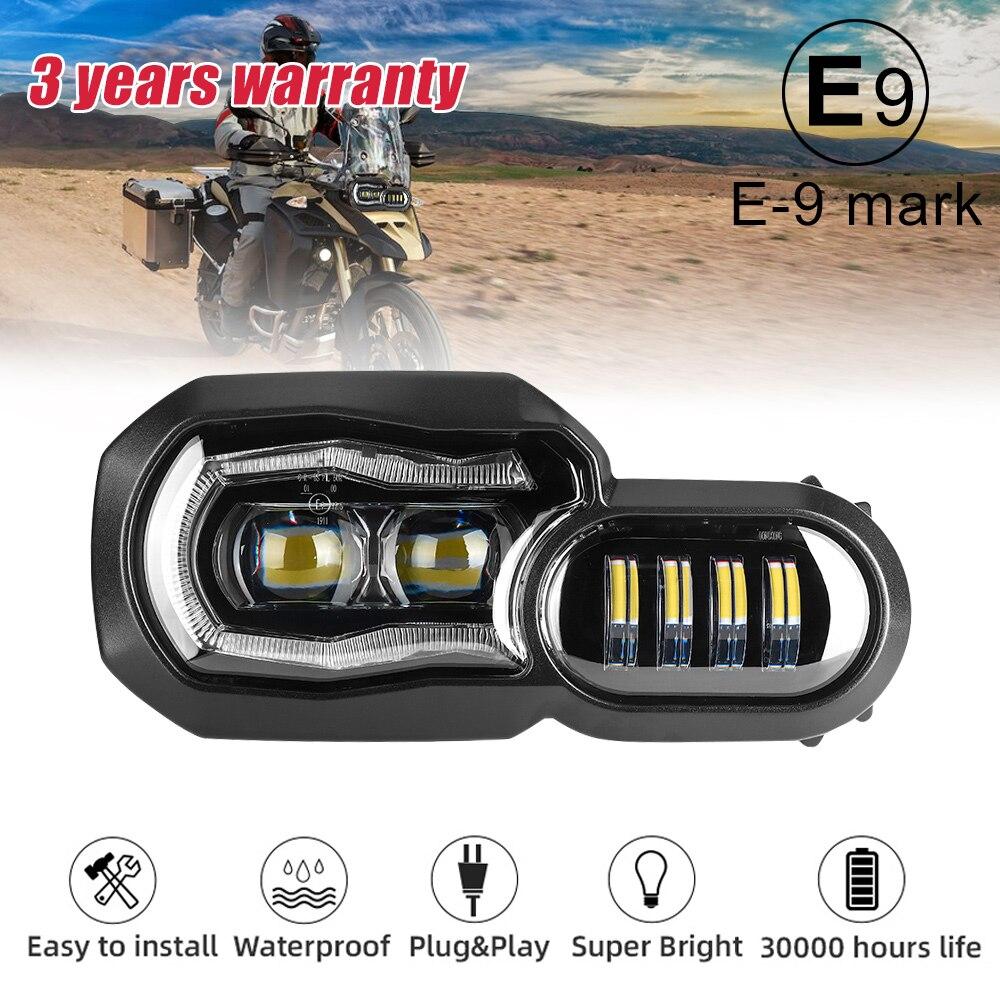 E9 Mark Para BMW F700GS F800GS Adv F800 GSA Completa LED Projector Farol Montagem Farol Ângulo eye Daytime running luz
