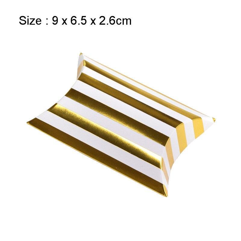 10 шт. коробка конфет сумка крафт бумага Подушка Форма свадебный подарок Коробки пирог вечерние коробка сумки эко дружественные крафт-продвижение - Цвет: Small gold Stripe