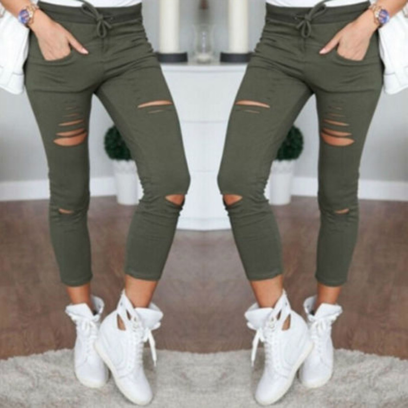 Military Army Green Skinny Ripped Holes Jeans Women High Waist Stretch Denim Pencil Pants Shredded Leggings Trousers