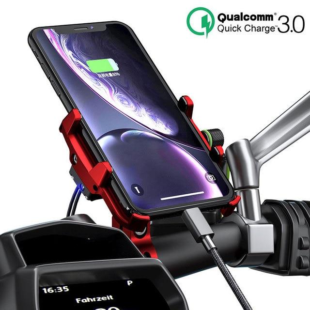 Motosiklet bisiklet mobil telefon tutucu elektrikli bisiklet telefon standı QC3.0 hızlı şarj braketi Tripod desteği 3.5 7 inç Smartphone