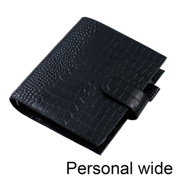 Moterm Luxe Series Personal Wide Size Planner with 30 MM Silver Rings Croc Grain Leather Notebook Cowhide Organizer Agenda 1