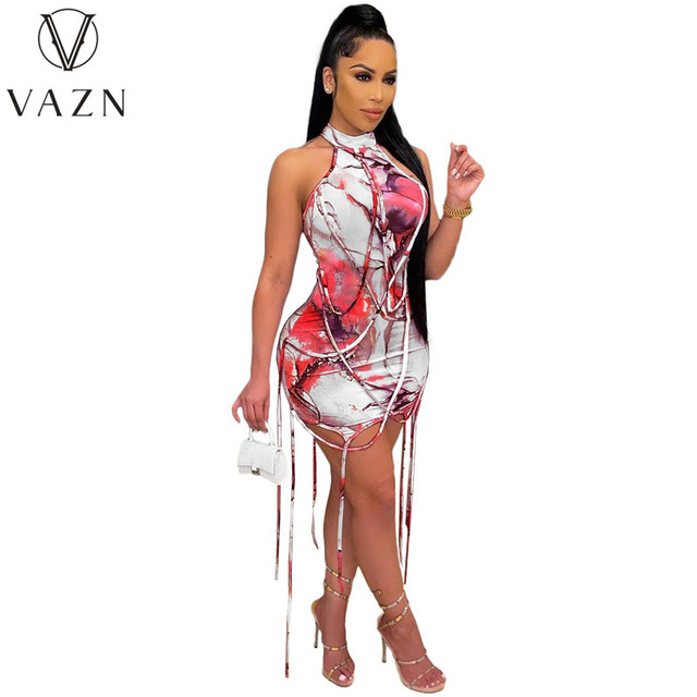 VAZN New 2021 Pleated Chic Ladies Slim Elegant Female Dress Women Deep Female Ladies Sleeveless Deep Dress Sexy Mini Beach Dress 4