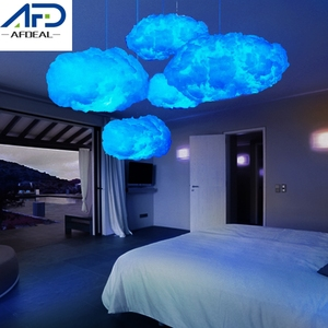 Blue/Yellow Cotton Cloud Shape Light Creative Led Cloud Night Light DIY Handmade Material Hanging Lamp Home Bedroom Decor