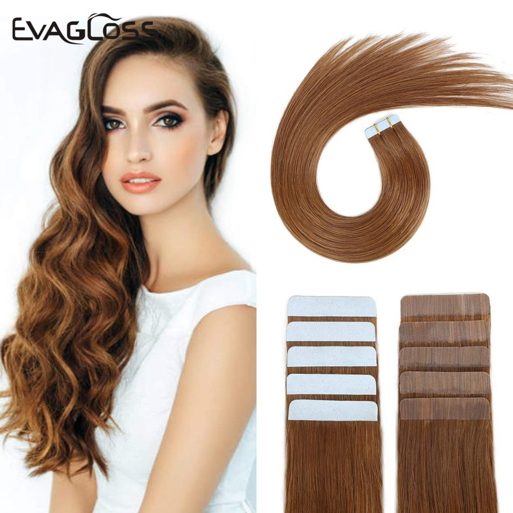 EVAGLOSS Tape In Human Hair Extensions Skin Weft Machine Remy 20pcs Adhesive Double Sided Tape In Hair Extensions
