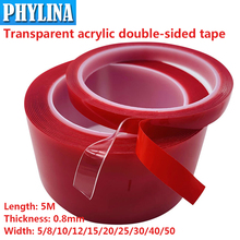 1Pcs Strong Transparent Acrylic Double-Sided Tape Light Strip Car Tape Length 5Meters Width 5/8/10/12/15/20/25/30/40/50mm