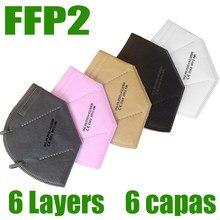 Ffp2 máscara protetora kn95 máscaras faciais 6-camadas filtro máscara proteger ce fpp2 boca máscara de segurança anti poeira cuidados de saúde rápido enviar