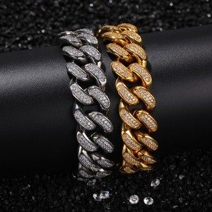 Image 2 - THE BLING KING 20mm Hiphop Bracelets Stainless Steel Full Bling Bling Cubic Zirconia Miami Cuban Link Bracelet Fashion Jewelry