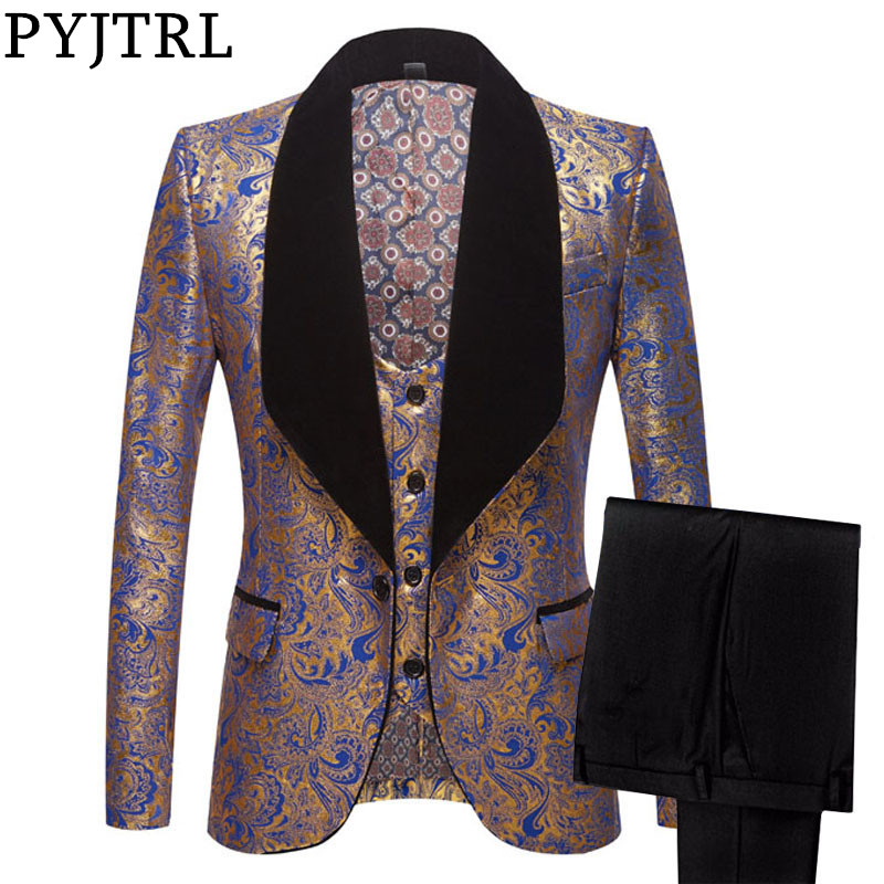PYJTRL Mens Three-piece Set Wedding Suits Gold Floral Pattern Slim Fit Party Prom Dress Tuxedo Singers Costume Smoking Uomo