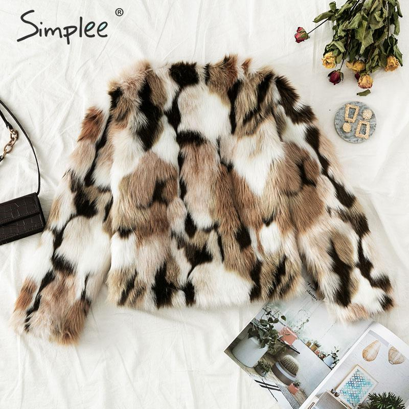 Simplee 2019 New winter fake fur V-neck buttons coats women Elegant fluffy long sleeve jackets Female warm office casual outwear 4