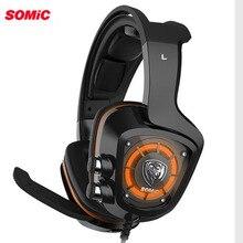 Игровая Гарнитура SOMiC G910 USB 7,1 с объемным звуком, с микрофоном, светодиодный светильник, умная вибрация, Накладные наушники для ПК, наушники для PS4