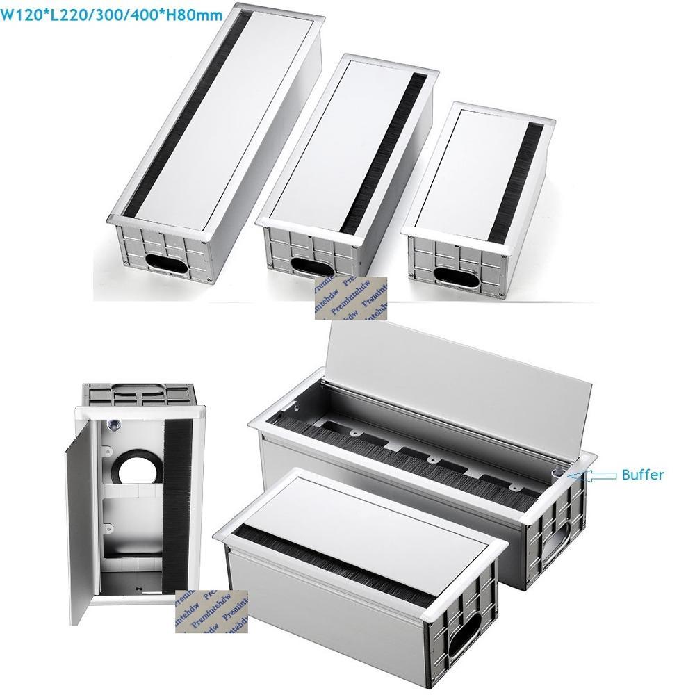 Aluminum Rectangle Wire Cable Tabletop Desktop Grommet Box Office Table Desk Buffer Flap Cover Brush