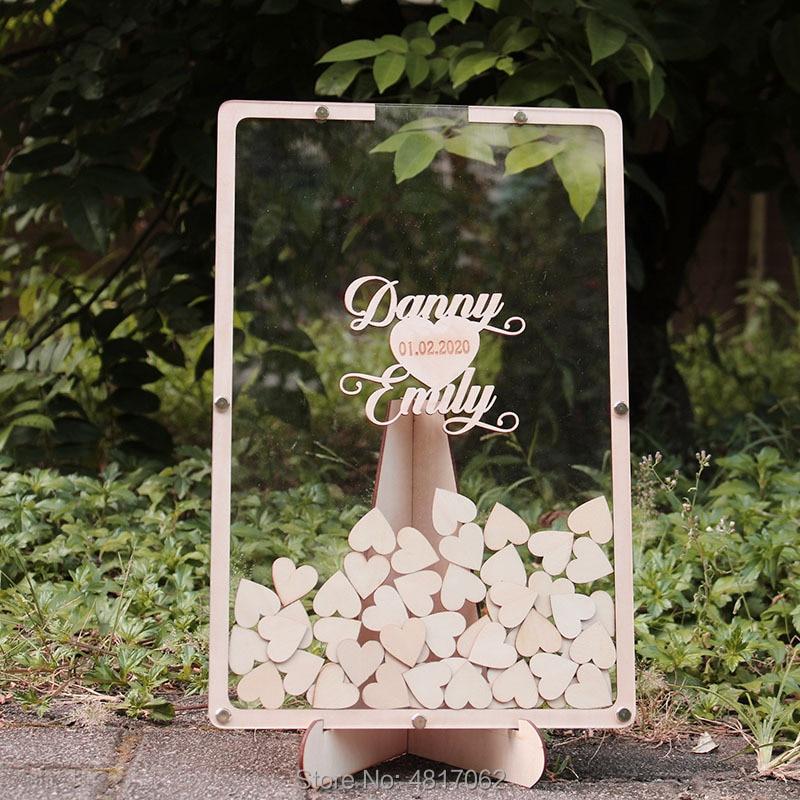 Wedding Guest Book Drop Box - Guest Book Frame - Wedding Guestbook Alternative - Drop Heart Guestbook - Guest Book Heart