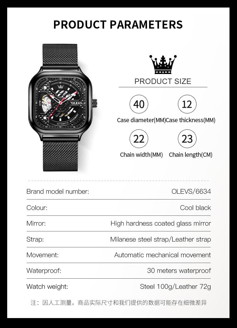 Olevs marca relógio totalmente automático relógio mecânico oco quadrado masculino