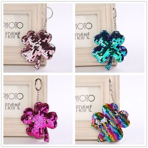 1PC Fashion Four Leaf Clover Keychain Glitter Pompom Sequins Key Ring Gifts for Women Charms Car Bag Accessories Key Chain