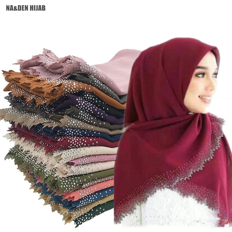 1PC Chiffon Wave Crystal Edges S Foulard Hijab Muslim Wraps Fashion Luxury Diamond Sides Shawl Women Plain Solid Scarf