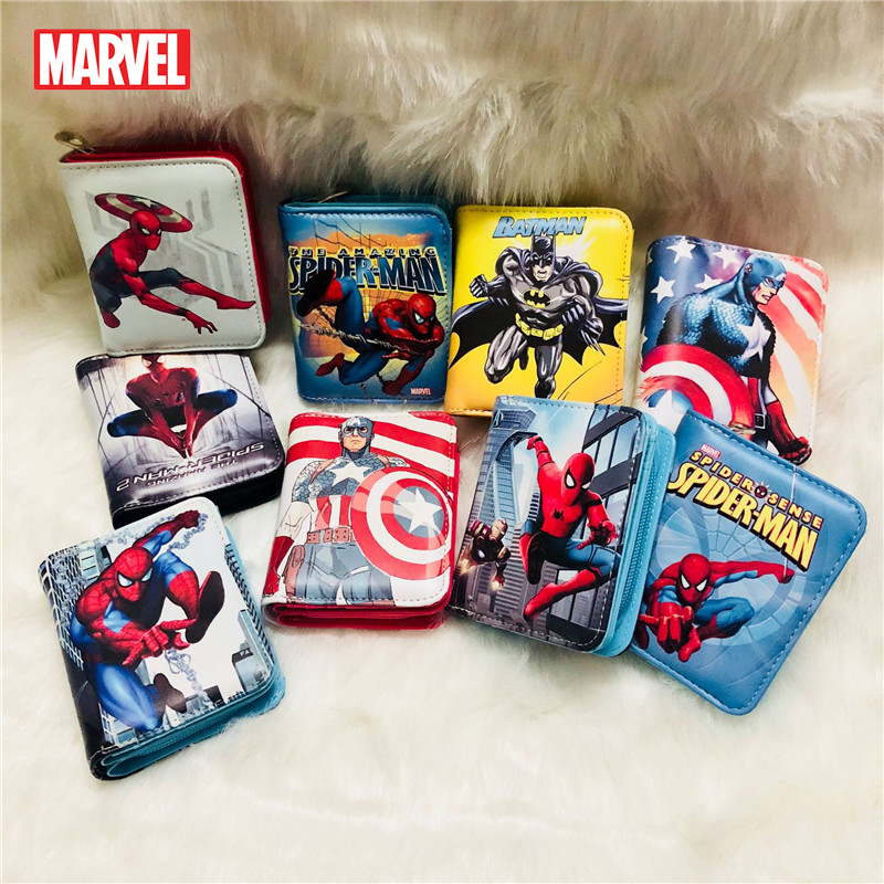 Marvel Anime Character Spider-Man Fashion Student Short Wallet Iron Man Children Personality Wallet High Quality PU Coin Purse