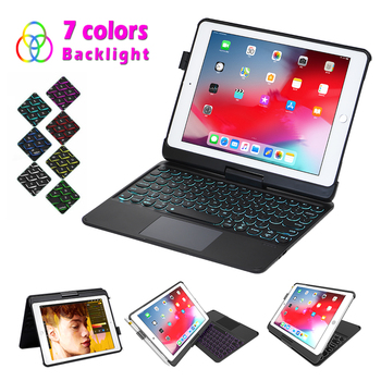 For iPad Air 2 iPad Pro 9.7 2016 New iPad 9.7 2017 2018 Case with Keyboard Trackpad 7 Color Backlit Detachable USA Keyboard Case