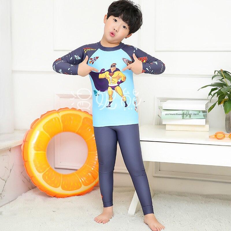 New Style KID'S Swimwear BOY'S Cute Cartoon Superman Split Type Sun-resistant Injury Long Sleeve Trousers Spa Resort Swimwear