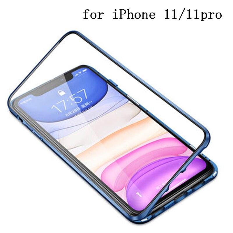 Новый двухсторонний чехол для iPhone 11, стеклянный Магнитный адсорбционный чехол для iPhone 11 Pro Max, металлический бампер для iPhone11