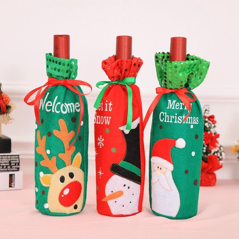 Christmas Santa Claus Red Wine Bottle Cover Party Decorations Kitchen Champagne Bottle Bags Xmas Table Ornaments Case 12pcs/lot