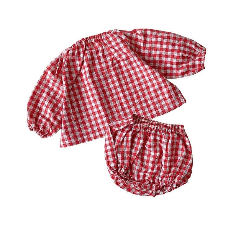 MILANCEL Baby Clothing Set Puff Sleeve Shirt And Shorts 2 Pcs Infant Clothes Red Plaid Girls Set