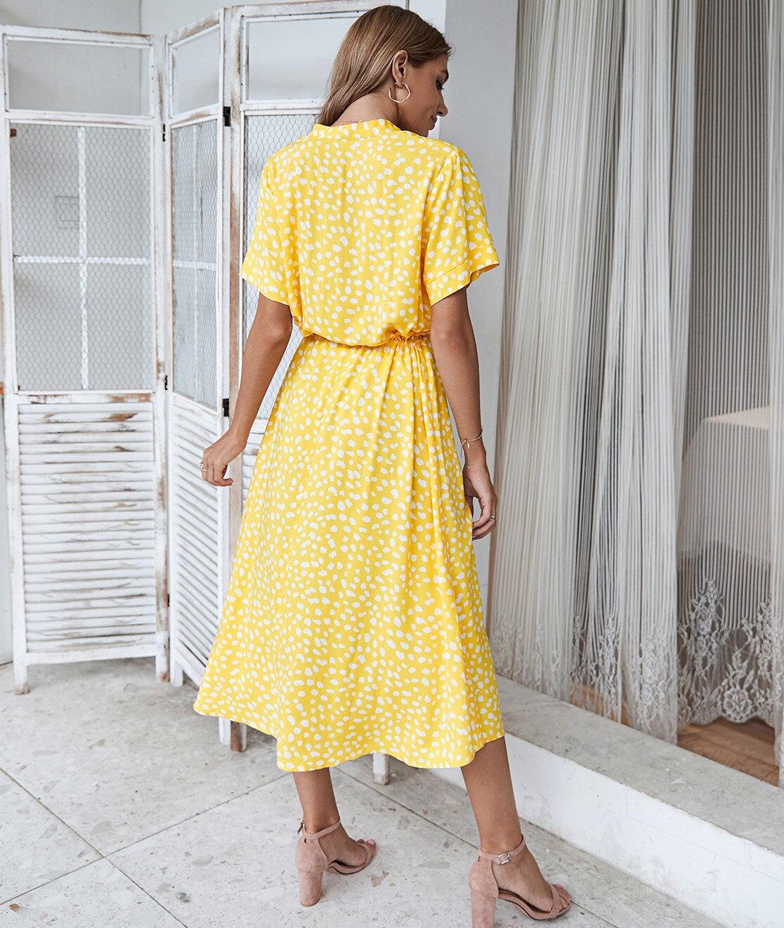 Dots Print White Short Sleeve Midi Boho Beach Dress 13