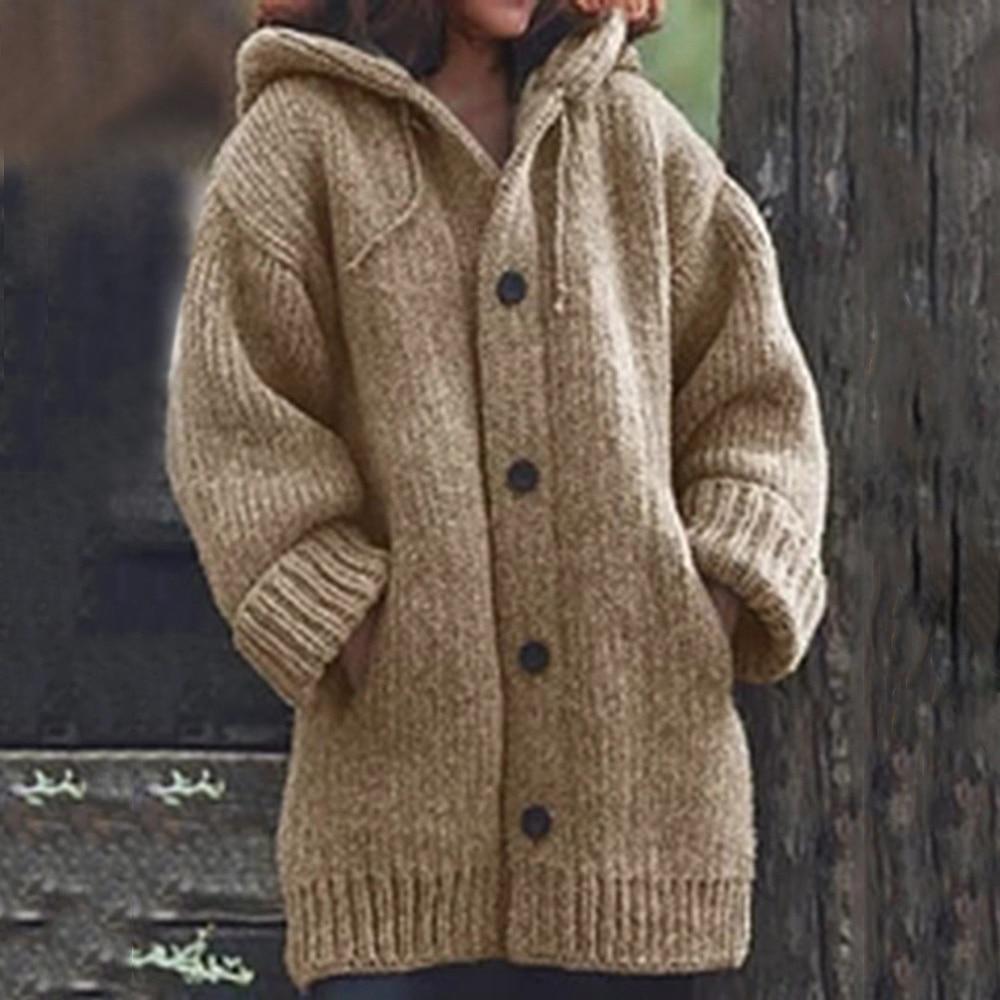 JODIMITTY Autumn Women Long Cardigan Solid Hooded Sweater Long Coat Winter Women Knitting Coat Plus Size 5XL Casual Knittwear