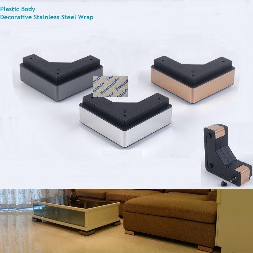 4Pcs/Lot Plastic Stainless Steel Wrap Square Corner Sofa Furniture Feet Leg Coffee Tea Bar Mirror Black Rose Gold Silver W Screw Furniture Cups  - AliExpress