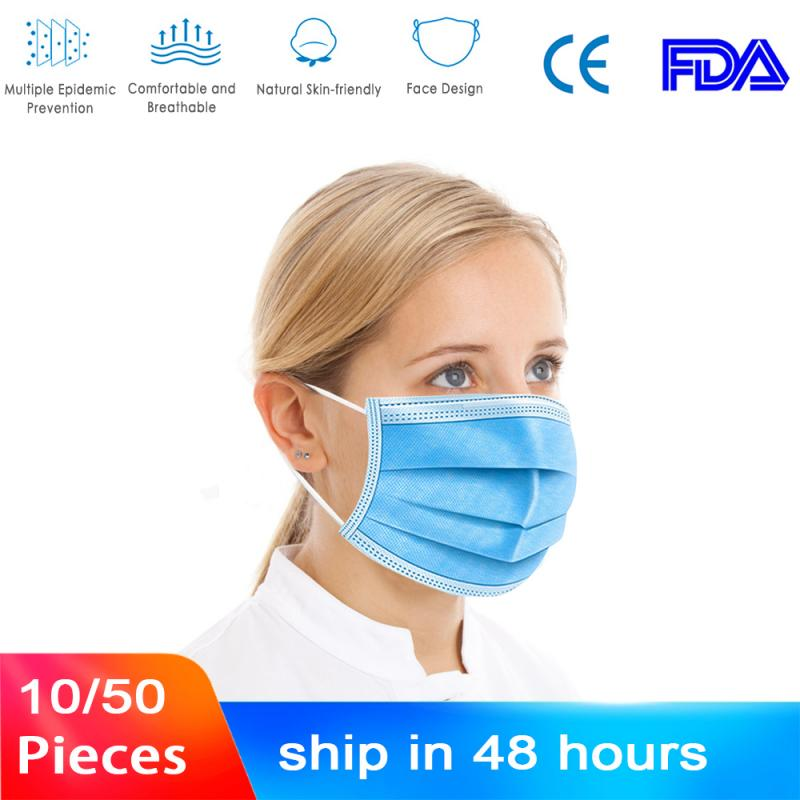 10pcs/50pcs Disposable Mouth Mask Antibacterial 3 Layers Non-woven Dust Filter Mouth Cover Ear Loop FFP1 Face Masks