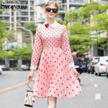Svoryxiu 2020 New Runway Fashion Pleated Dress Women's Long Sleeve Diamond Heart-Shaped Print Pink Elegant Dresses Vestdios(China)