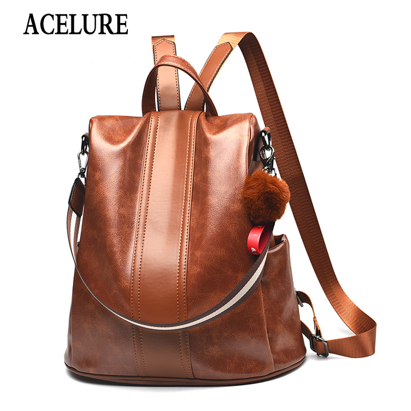 ACELURE Soft PU Leather Travel Bags Students Bags Solid Color Women Backpack Fur Ball Hanging Casual High-capacity School Bags