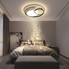 Plafond moderne à LEDs lampes pour chambre salon salle à manger cuisine nordique rond noir blanc cercle intérieur lumières décoratives