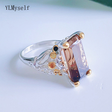 Fast shipping door to Big Rectangle Brown Zirconia Ring Silver color Jewellery Finger Rings Women Fashion Jewelry
