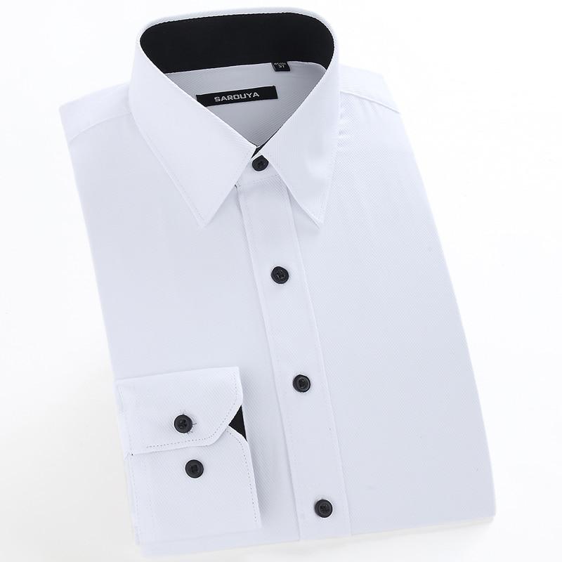Men's Basic Designed Long Sleeve Dress Shirts Classic Collar Regular-fit Formal Business Work Social Solid Twill Tops Shirt