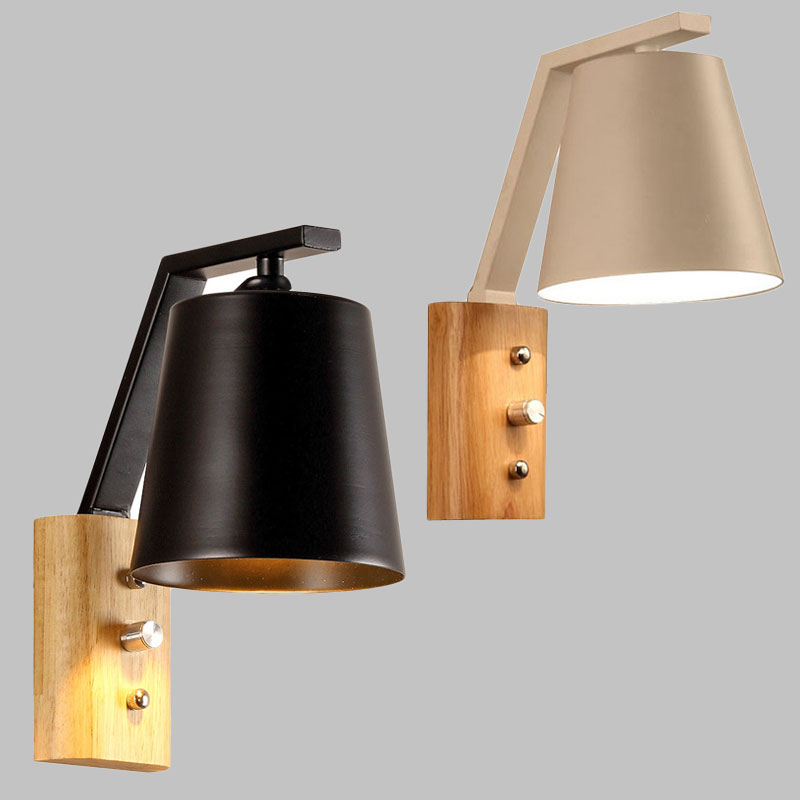 Nordic simple style LED creative wooden wall light dining room bed room wall light foyer study balcony aisle wall lamp