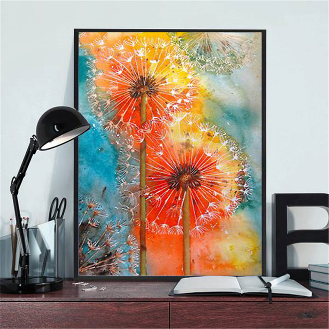 Huacan 5D DIY Diamond Painting Full Square Dandelion Diamond Embroidery Mosaic Landscape Art Decorations Home
