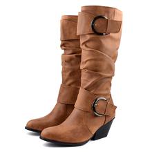 YANSHENGXIN buty kobieta buty podwójne klamry buty damskie Retro jesień zima buty szpiczasty buty z palcami damskie połowy łydki buty tanie tanio Slip-on Stałe 2-875 Dla dorosłych Pasuje prawda na wymiar weź swój normalny rozmiar Szpiczasty nosek Spike obcasy Zachodnia