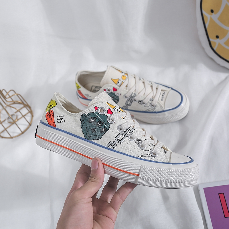 Fashion Hot Canvas Women Shoes Spring Lace-up Graffiti Ladies Breathable Casual Sneakers High Quality Female Flat Footwear