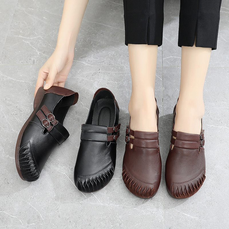 Breathable Braid Loafers Women Hollow Genuine Leather Flats Ladies Wedge Shoes Female Comfort Grid Shoes Girls Flats Plus Size