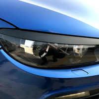 Coppia Anteriore Del Faro Palpebra Sopracciglio Trim Per VW Scirocco R GTS 2008 2009 2010 2011 2012 2013 2014 2015 2016 2017 Carbon Look