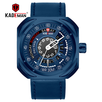 663 KADEMAN Fashion Mens Watches Top Brand Luxury Quartz Watch Men Casual Leather strap Waterproof Sport Watch Relogio Masculino