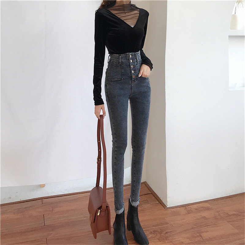 Real Shot Women's Self-cultivation Versatile Pencil Feet Nine Pants 2019 New Fashion High Waist Single-breasted Stretch Jeans