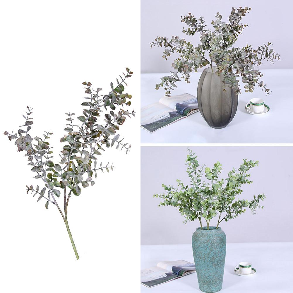 1Pc Artificial Plants Trees Fake Eucalyptus Leaf 3 Branches Plant For DIY Wedding Party Home Decor