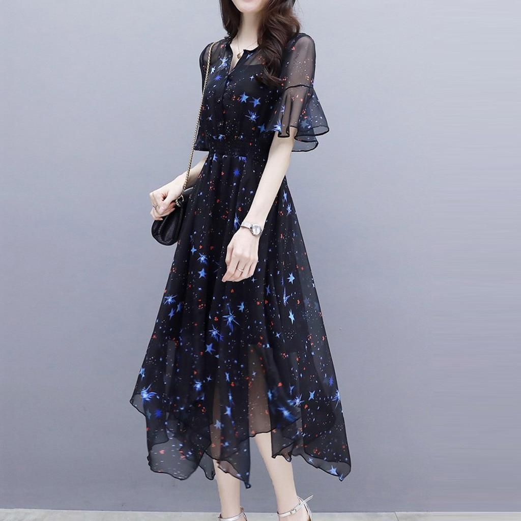 Black Vintage Dress Summer Lady Midi Chiffon Dress 2020 New Korean Fashion Women Flare Sleeve Print Pleated Dress Vestidos#3 1