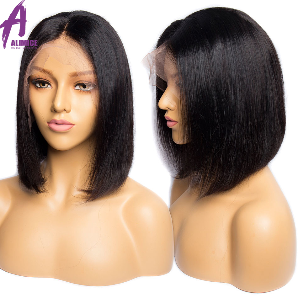 Peruvian Straight 13x4 Lace Front Human Hair Wigs Short Bob Wig Pre Plucked Hairline With Baby Hair Lace Wig For Black Women