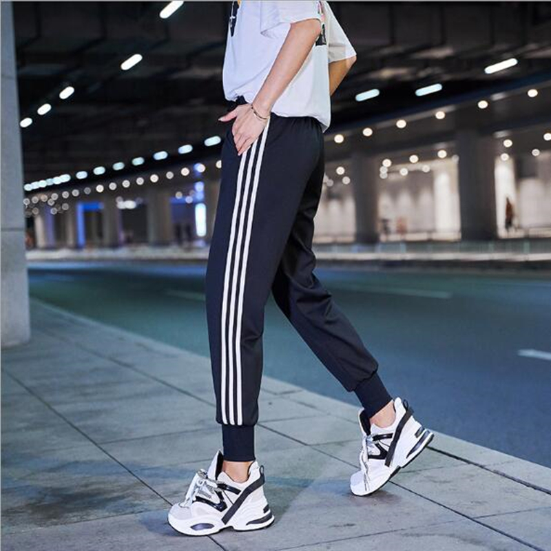 Women Pants Autumn 2019 Streetwear Joggers Trousers Elastic Waist Sweatpants Striped Letter Loose Casual Green/Black/Purple/Red